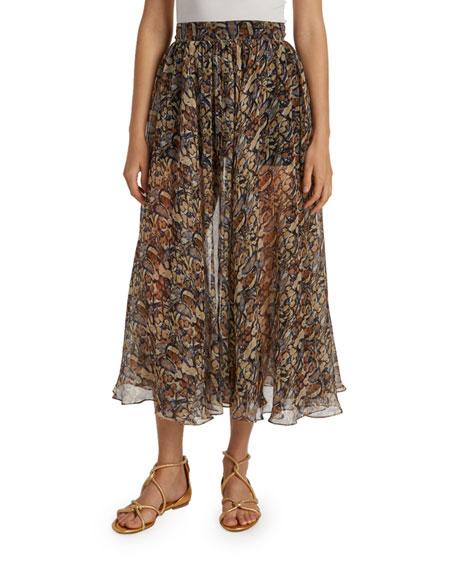 ALAIA Floral Silk-Gauze Midi Skirt