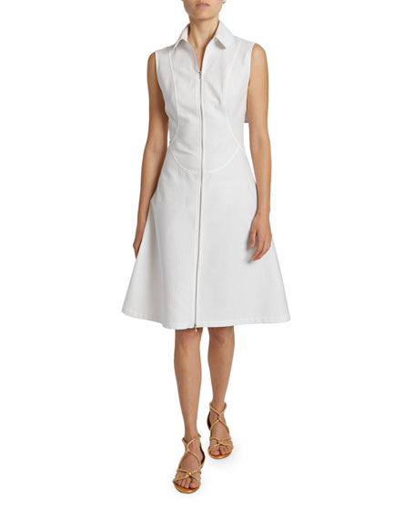 ALAIA Sleeveless Cotton Zip-Front Shirtdress