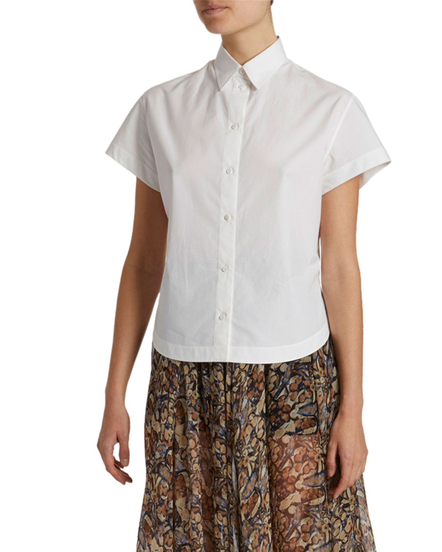 Poplin Short-Sleeve Button-Front Shirt