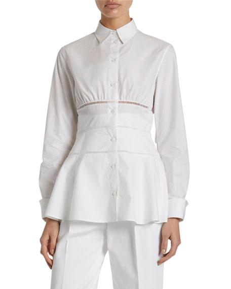 ALAIA Poplin Peplum Button-Front Shirt