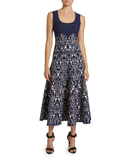 ALAIA Closerie Print Jersey A-Line Dress