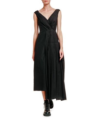 Asymmetric Pleated Poplin Dress