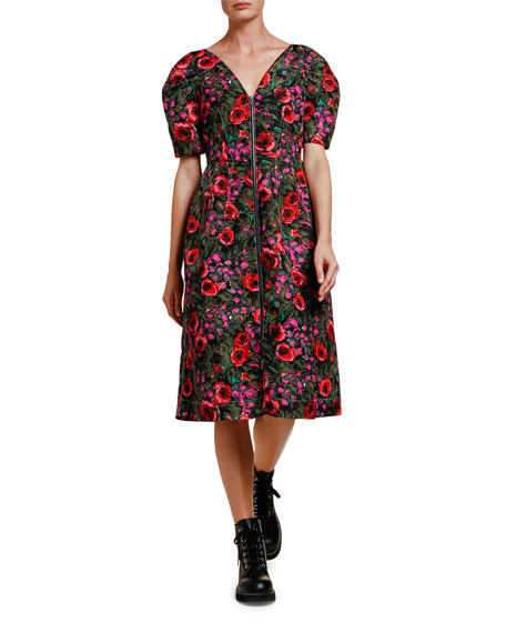 Marni Floral-Print Zip-Front Midi Dress