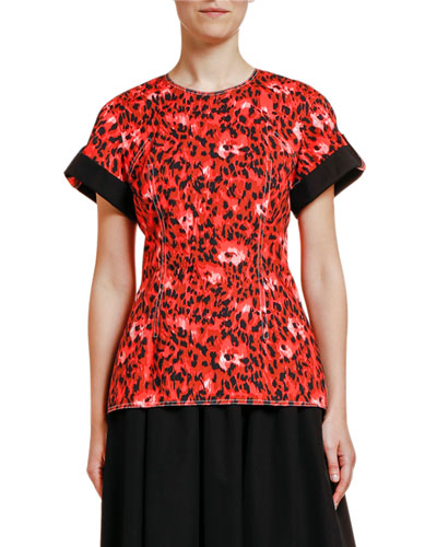 Short-Sleeve Stretch Cotton Blouse
