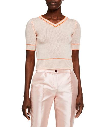 V-Neck Short-Sleeve Cashmere Sweater