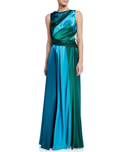 Tri-Tone Shiny Crepe-Satin Gown