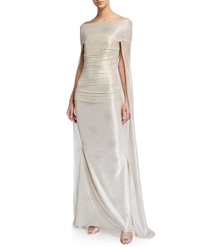 Starburst Metallic Voile Capelet Gown