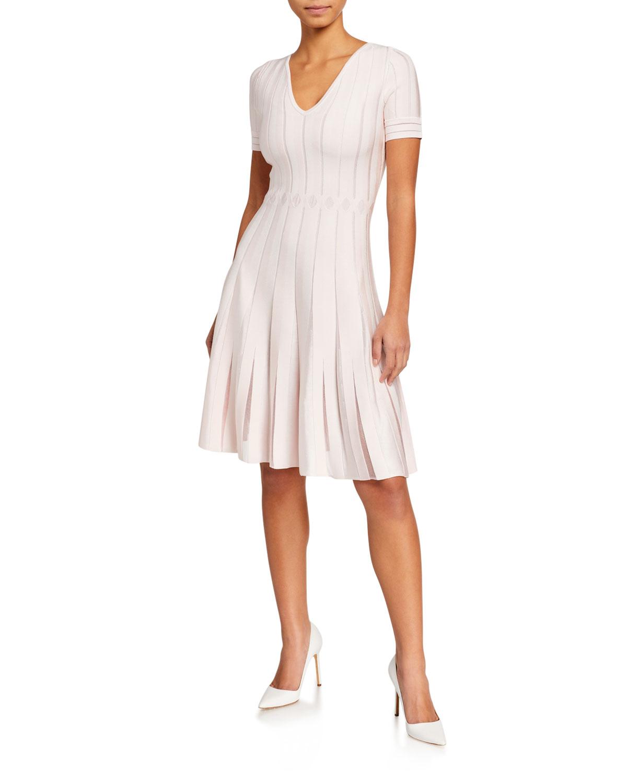 Zac Posen Dresses V-NECK SHORT-SLEEVE KNIT DRESS