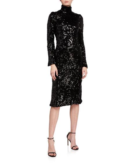 Galvan Legato Sequined Turtleneck Dress