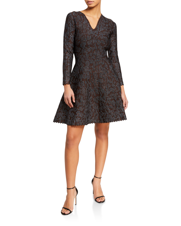Zac Posen Dresses V-NECK LONG SLEEVE MINI DRESS