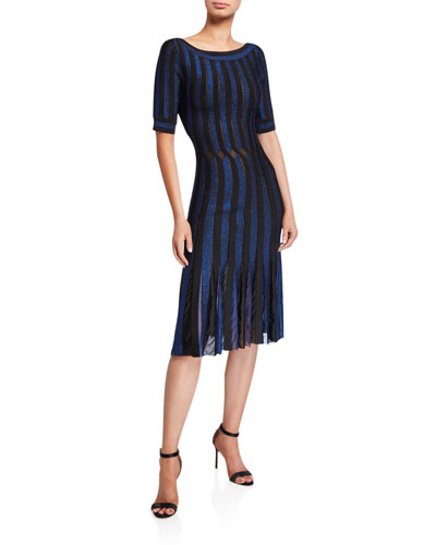 Striped Bateau-Neck Cocktail Dress