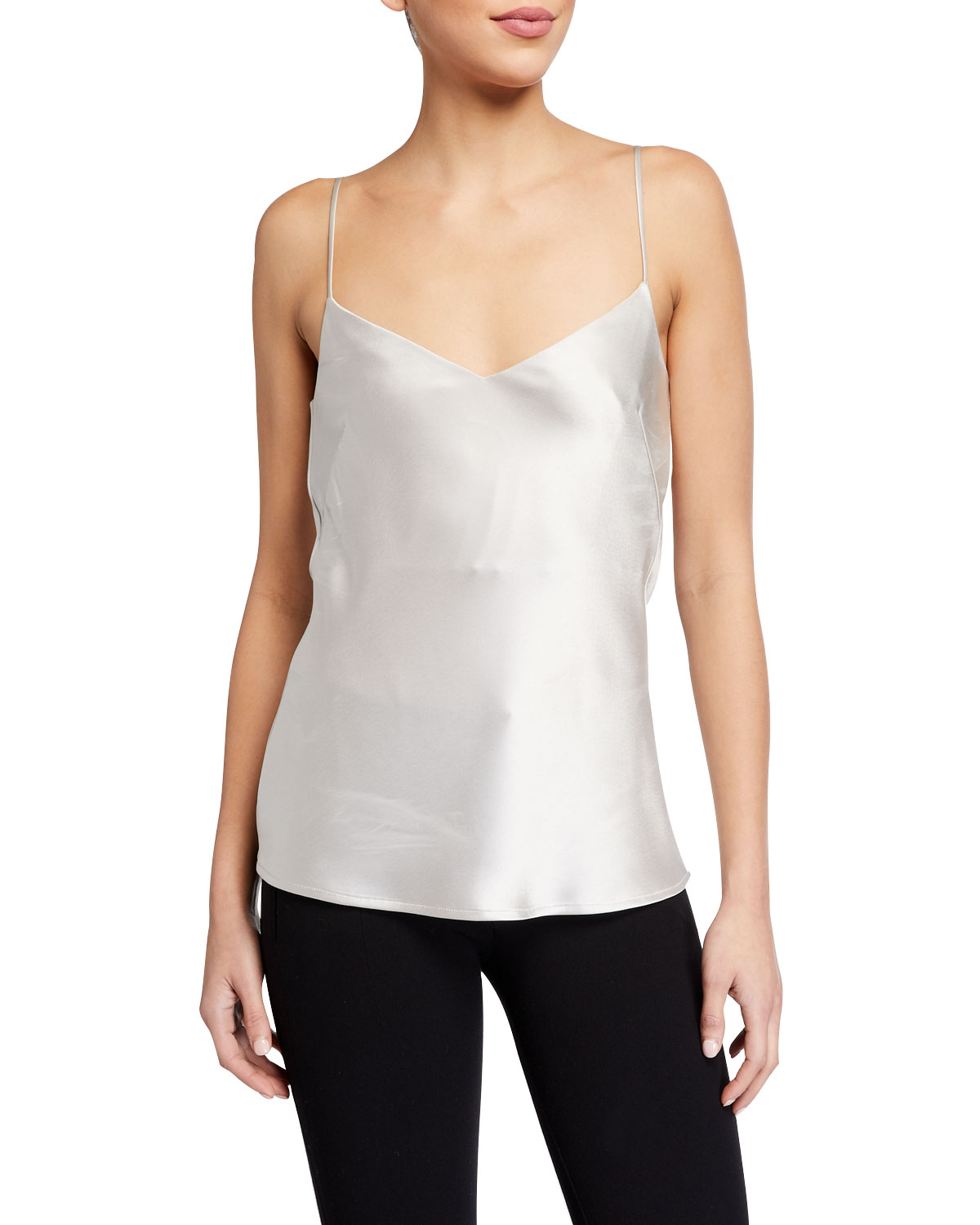 Galvan Tops V-NECK THIN-STRAP SATIN CAMISOLE TOP