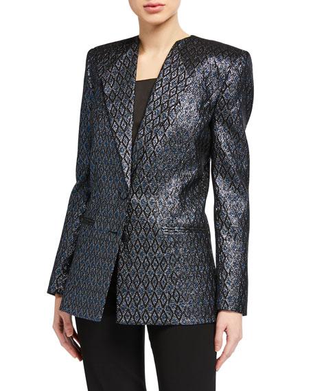 Zac Posen Metallic Jacquard Blazer Jacket
