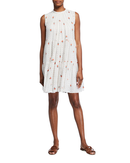 Chloe Flower-Striped Mousseline Dress