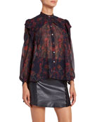 Chloe Floral-Print Silk Long-Sleeve Blouse and Matching Items