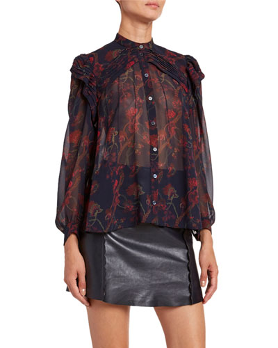 Floral-Print Silk Long-Sleeve Blouse
