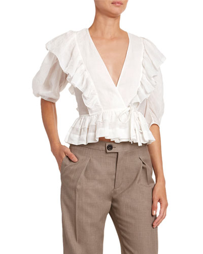 Ruffled Voile 1/2-Sleeve Blouse