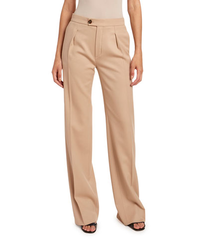 Stretch Wool Satin Pants