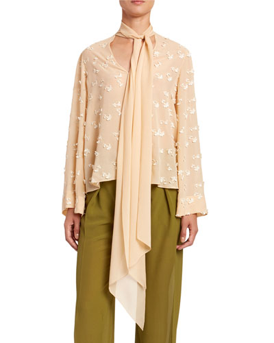Guipure Lace & Georgette Long-Sleeve Top