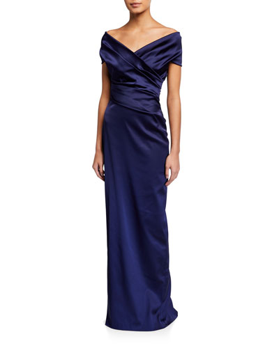 Stretch Satin Off-the-Shoulder Gown
