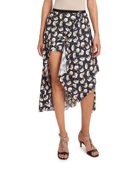 Chloe Bouquet-Print Silk Asymmetric Skirt