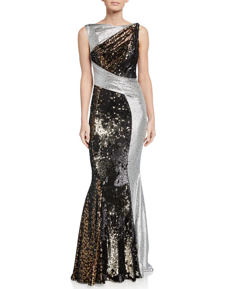 Talbot Runhof Animal Print & Mirror Ball Gown