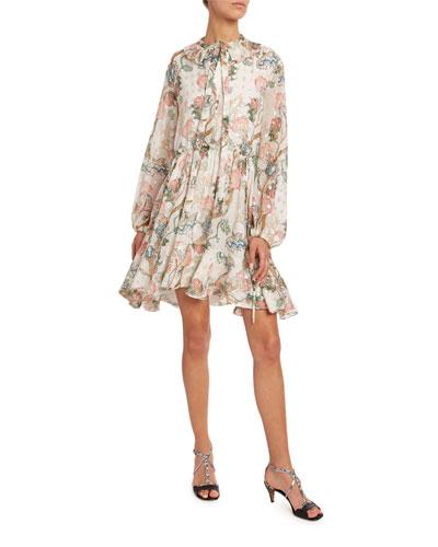 Flower Print Metallic-Jacquard Shirtdress