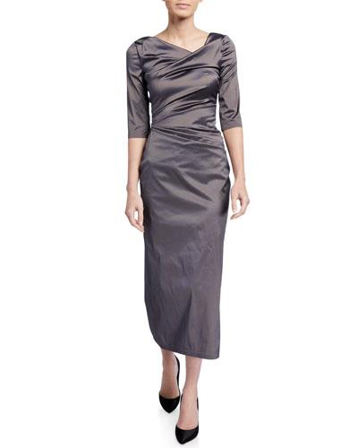 1/2-Sleeve Stretch Silk Gown