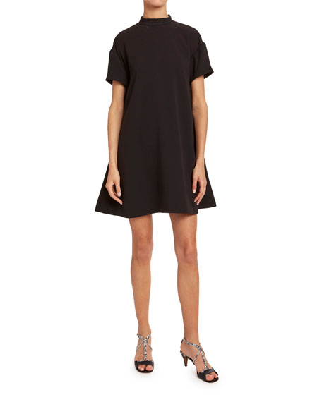 Chloe Satin-Back Crepe Long-Sleeve Dress