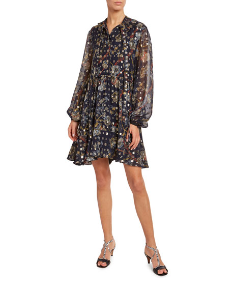 Chloe Flower-Print Metallic Jacquard Shirtdress