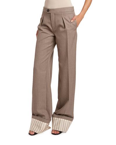 Fine Wool Twill Pants w/ Striped Cuffs