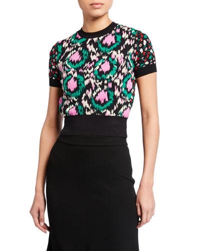 Floral Jacquard High-Neck Short-Sleeve Sweater