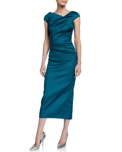 Roya High-Neck Cap-Sleeve Draped Midi Gazar Cocktail Dress