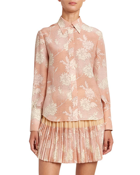 Chloe Floral-Print Crepe Button Front Shirt
