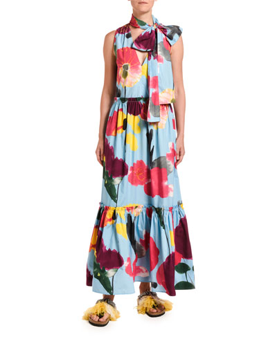 Lou Lou Floral Print Tiered Tie-Neck Dress
