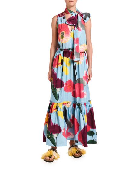 Double J Lou Lou Floral Print Tiered Tie-Neck Dress