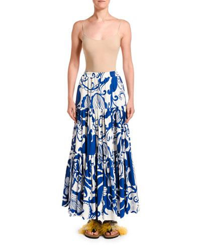 Printed Tiered Poplin Maxi Skirt