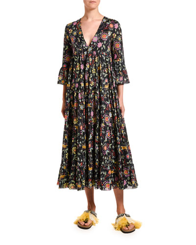 Jennifer Jane Floral Voile 3/4-Sleeve Dress