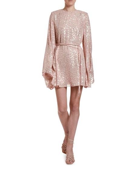 Stella McCartney Metallic Animal-Spot Jacquard Silk Mini Dress