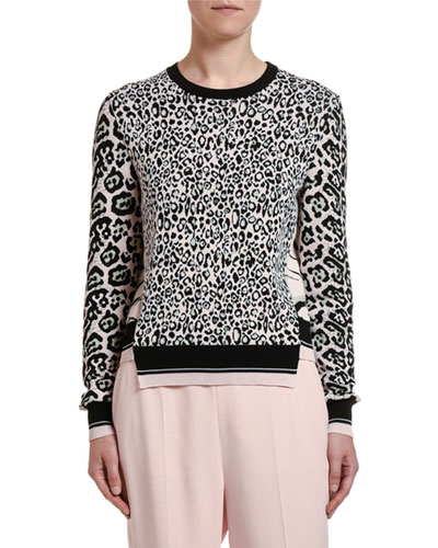 Animal Print Patchwork Wool Sweater