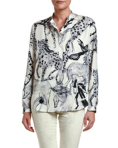 Kid/'s Silk Shirt Horses Design Long Sleeve