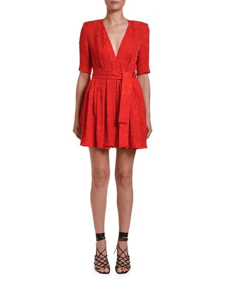 Stella McCartney Rose-Jacquard 1/2-Sleeve Mini Dress