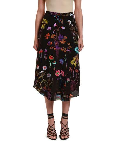 Dark Floral-Print Silk Midi Skirt