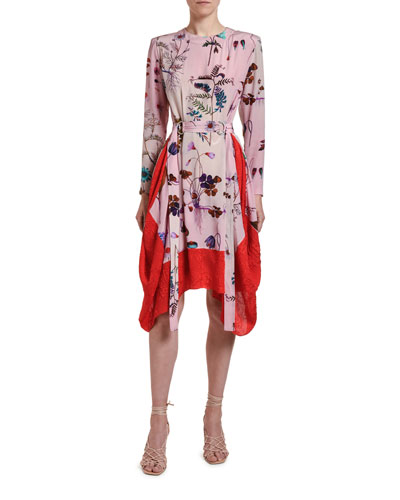Floral-Print Silk Handkerchief Dress