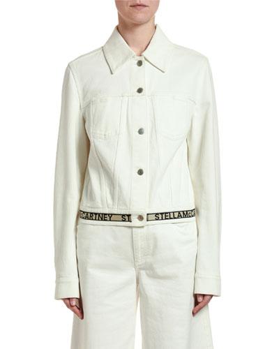 Cropped Logo-Belted Jacket
