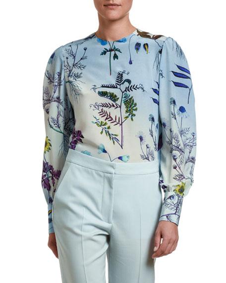 Stella McCartney Stem-Print Silk Long-Sleeve Top
