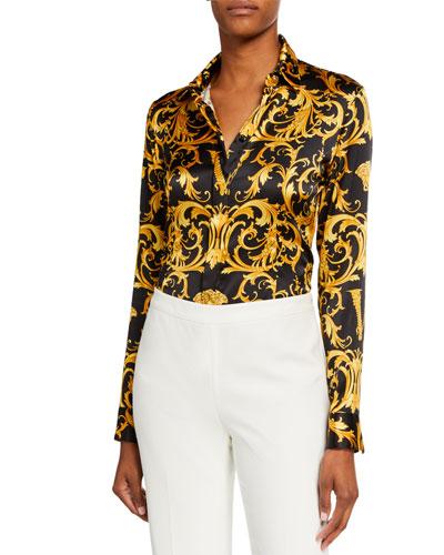 Baroque-Print Silk Shirt