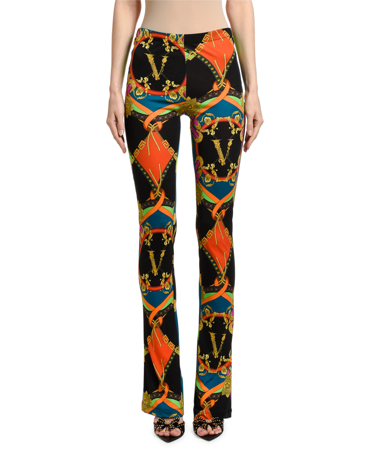 Multicolor Greek-Key-Print Flared Leggings