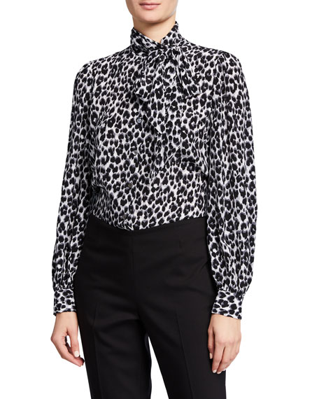 Michael Kors Collection Leopard Print Tie Neck Blouse