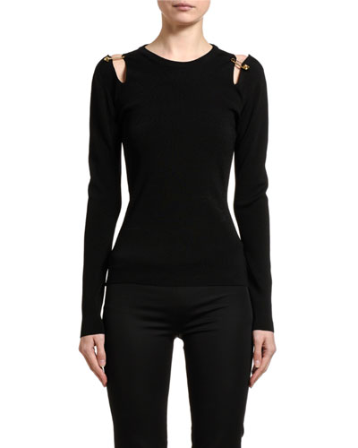 Safety-Pin Shoulder Jersey Top